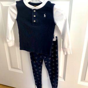 Polo Unisex Kid's Pajama Set, 3T